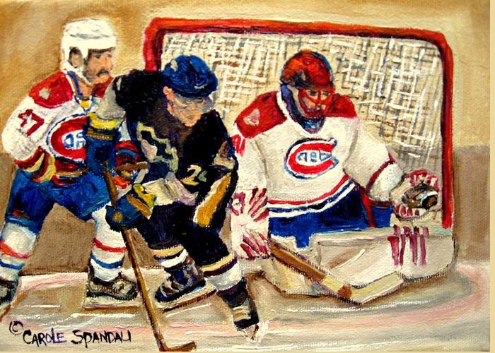 Hockey Greeting Card featuring the painting Halak Catches The Puck Stanley Cup Playoffs 2010 by Carole Spandau