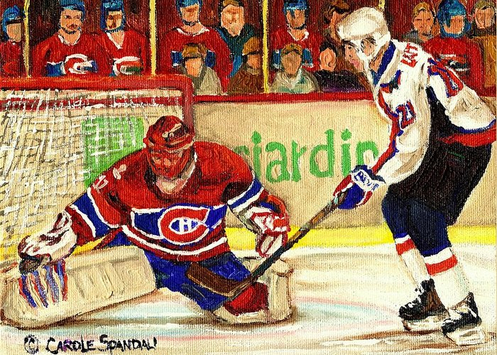 Hockey Greeting Card featuring the painting Halak Makes Another Save by Carole Spandau