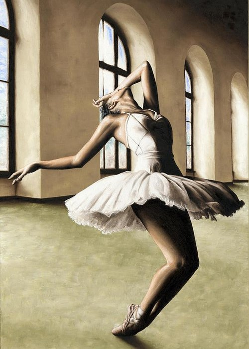 Dancer Greeting Card featuring the painting Halcyon Ballerina by Richard Young