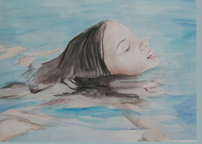 Girl Greeting Card featuring the painting Haley In The Pool by Charlotte Yealey