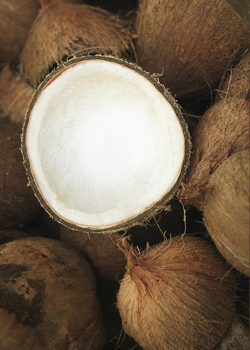Arrange Greeting Card featuring the photograph Half Coconut by Brandon Tabiolo - Printscapes