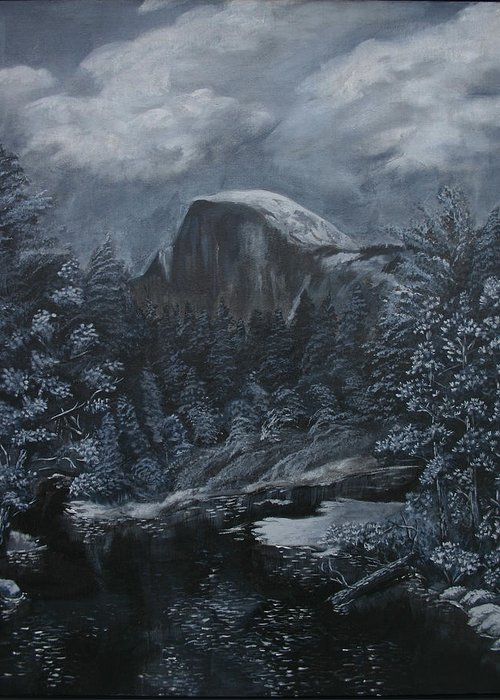 Yosemite Greeting Card featuring the painting Half Dome Black And White by Travis Day