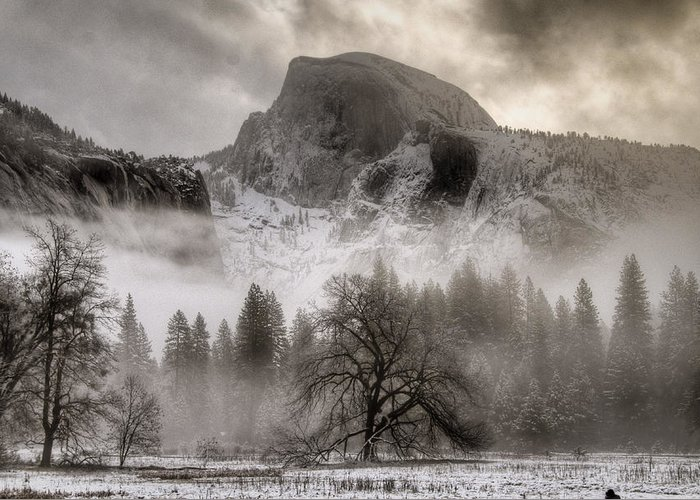 Beautiful Greeting Card featuring the photograph Half Dome In Winter by Connie Cooper-Edwards