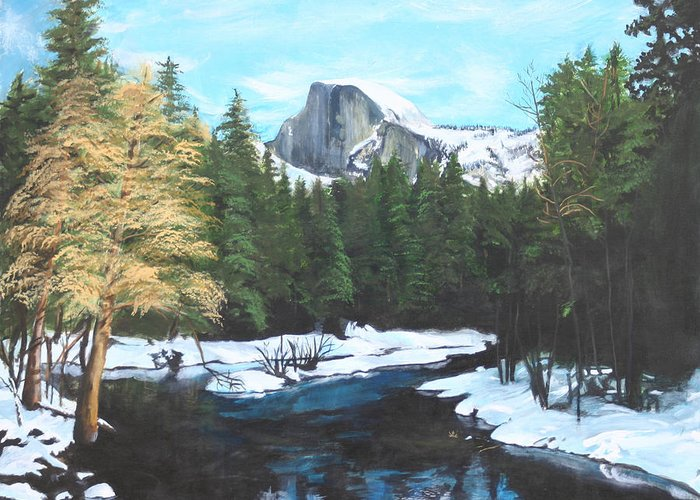 Lkandscape Greeting Card featuring the painting Half Dome Snow by Travis Day