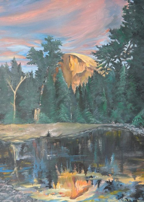 Sunset Greeting Card featuring the painting Half Dome Sunset by Travis Day