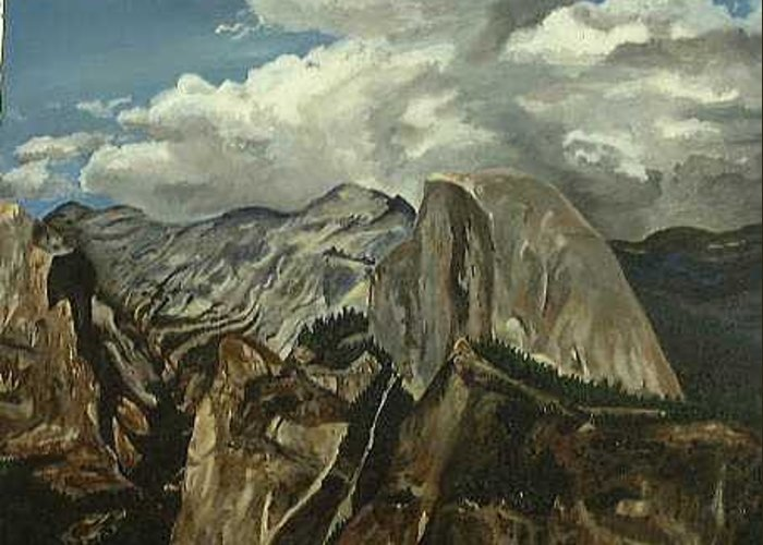 Greeting Card featuring the painting Half Dome by Travis Day