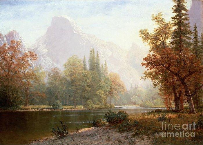 Albert Bierstadt Greeting Card featuring the painting Half Dome Yosemite by Albert Bierstadt