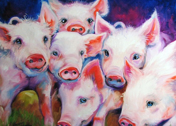 Pig Greeting Card featuring the painting Half Dozen Piglets by Marcia Baldwin