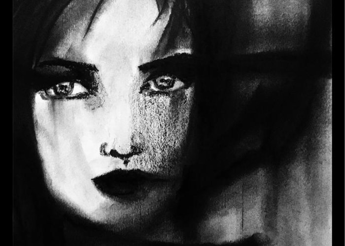 Charcoal Greeting Card featuring the painting Half In The Shadows by Madhurima Mukherjee