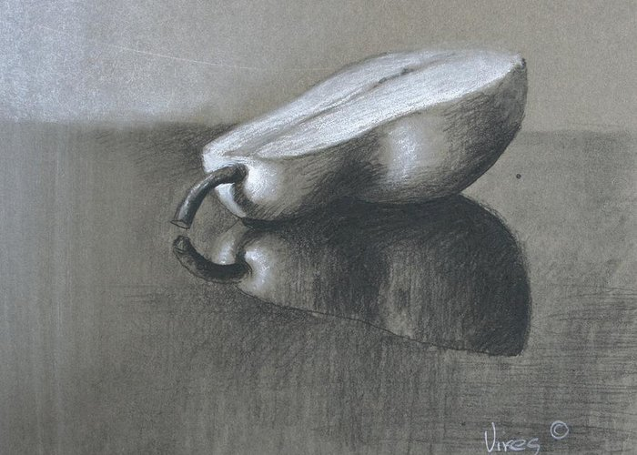 Charcoal On Paper Greeting Card featuring the drawing Half by Michael Vires