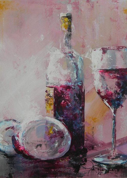 Wine Abstract Greeting Card featuring the painting Half Savored by John Henne