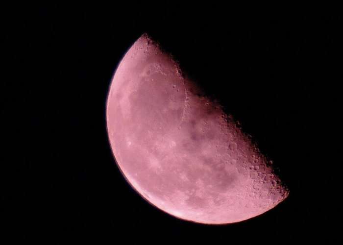 Moon Greeting Card featuring the photograph Half The Moon by Jeff Swan