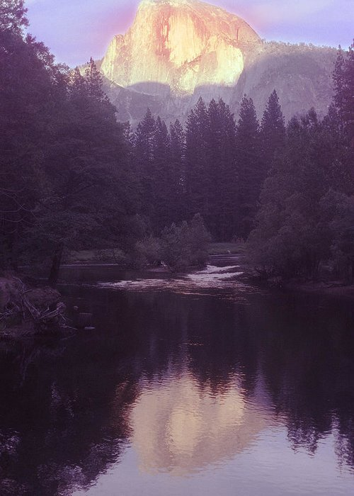 Halfdome Greeting Card featuring the photograph Halfdome Over The Merced by Richard Henne
