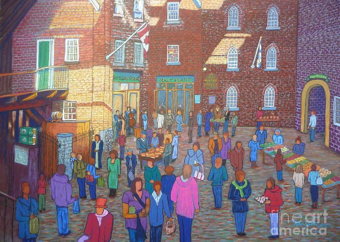 Halifax Greeting Card featuring the pastel Halifax Farm Market by Rae Smith