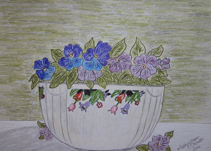 Hall China Greeting Card featuring the painting Hall China Crocus Bowl With Violets by Kathy Marrs Chandler