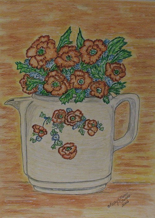 Hall China Greeting Card featuring the painting Hall China Orange Poppy And Poppies by Kathy Marrs Chandler
