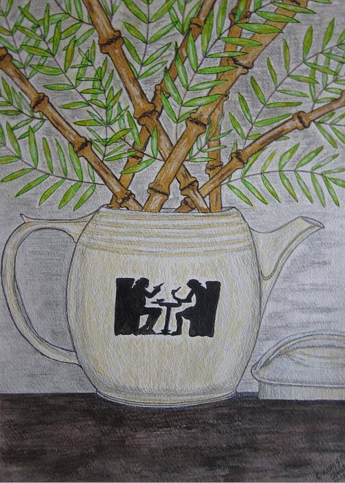 Hall China Greeting Card featuring the painting Hall China Silhouette Pitcher With Bamboo by Kathy Marrs Chandler