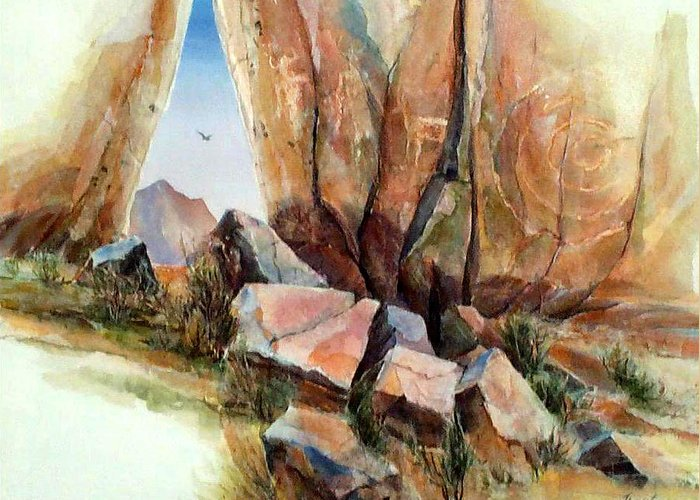 Southwest Landscape Mixed Media Greeting Card featuring the painting Hall Of Giants by Don Trout