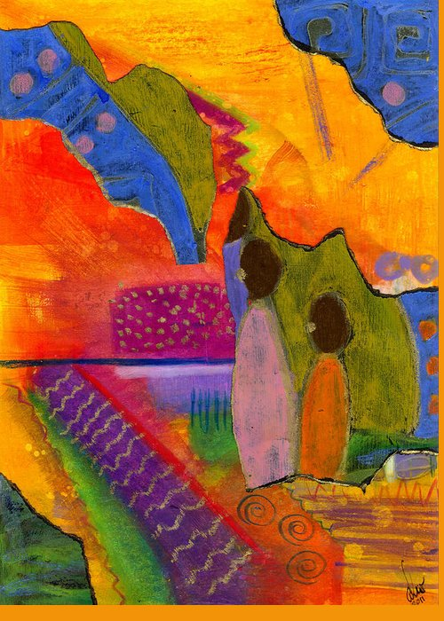 Collage Greeting Card featuring the painting Hallelujah Praise by Angela L Walker