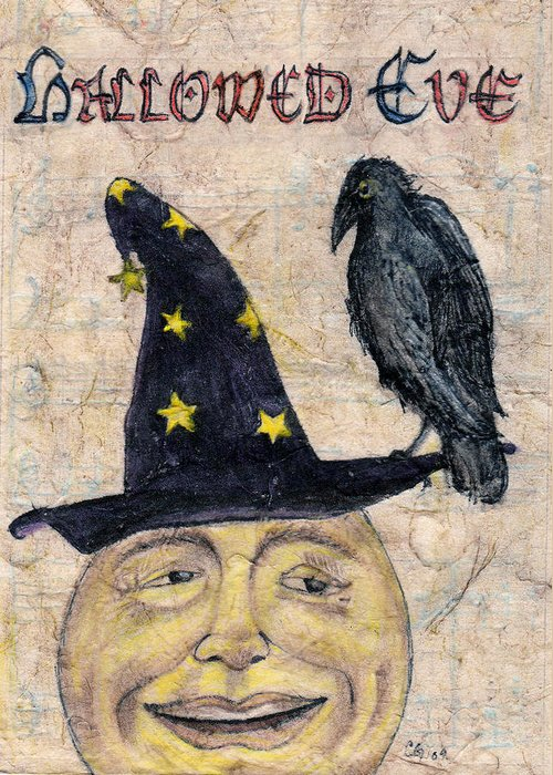 Hallowed Eve Greeting Card featuring the drawing Hallowed Eve by Carrie Jackson