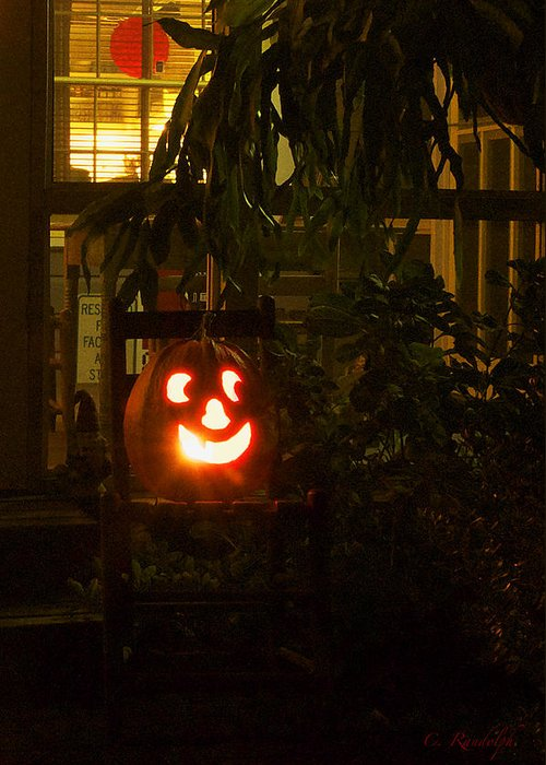 Jack O Lantern Greeting Card featuring the photograph Halloween Beacon by Cheri Randolph