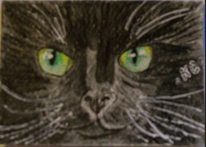 Halloween Greeting Card featuring the painting Halloween Black Cat I by Kathy Marrs Chandler