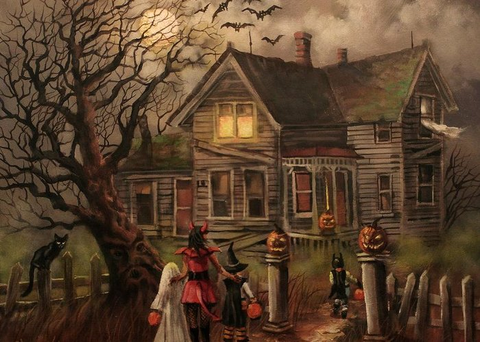 Bats Greeting Card featuring the painting Halloween Dare by Tom Shropshire
