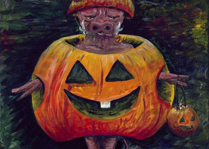 Halloween Greeting Card featuring the painting Halloween Hog by Nadine Rippelmeyer