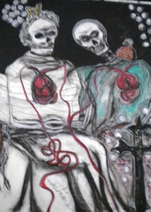 Love Greeting Card featuring the mixed media Halloween Love by Victoria Hasenauer