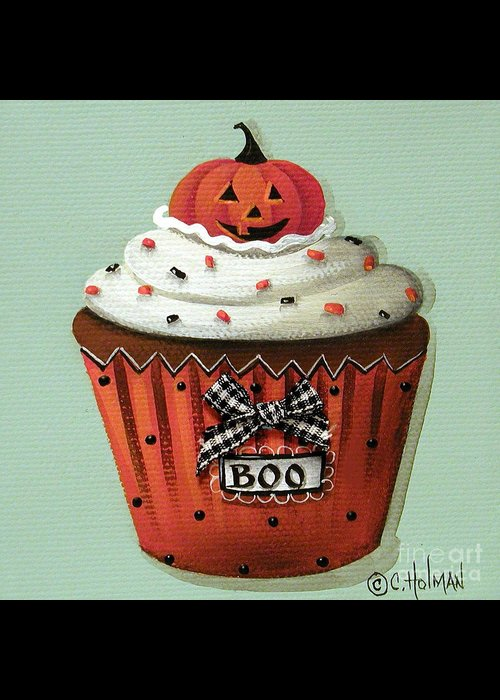 Art Greeting Card featuring the painting Halloween Pumpkin Cupcake by Catherine Holman