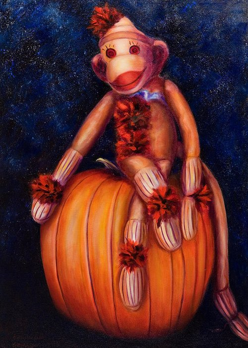 Pumpkin Greeting Card featuring the painting Halloween by Shannon Grissom