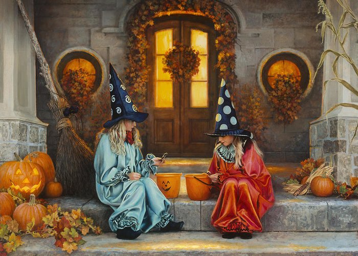 Halloween Greeting Card featuring the painting Halloween Sweetness by Greg Olsen