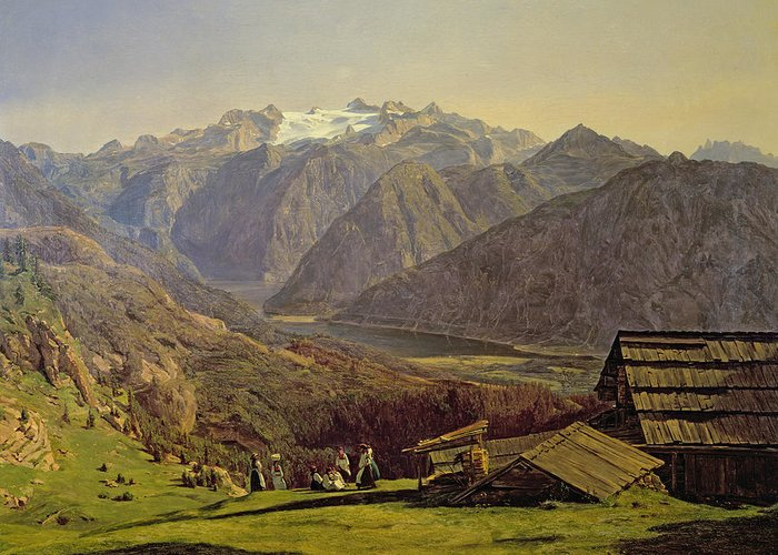 Hallstatter-see Greeting Card featuring the painting Hallstatter See by Ferdinand Georg Waldmuller