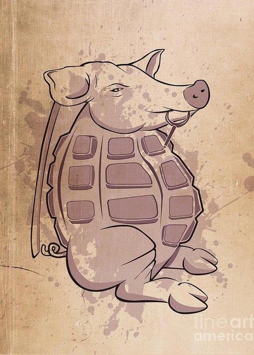Pig Greeting Card featuring the digital art Ham-grenade by Joe Dragt