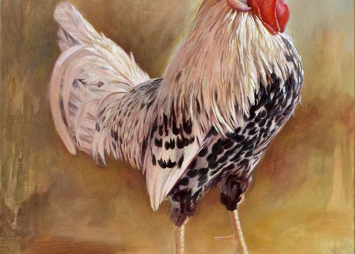 Rooster Greeting Card featuring the painting Hamburg Rooster by Hans Droog