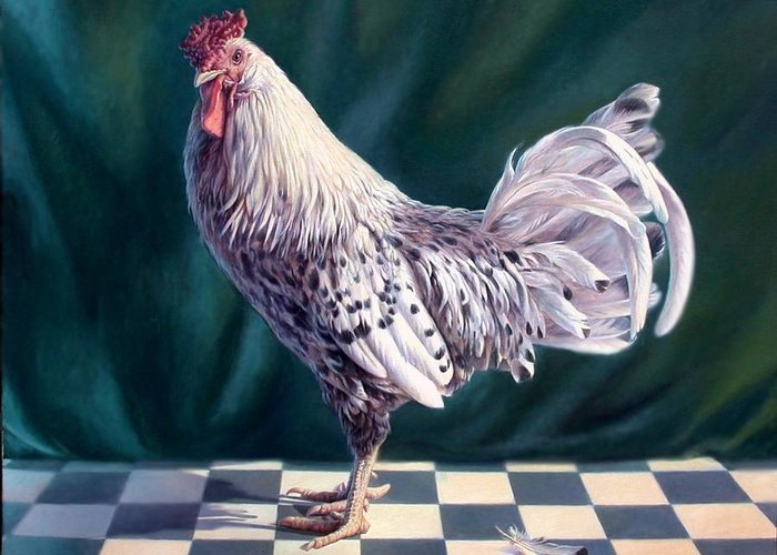 Chicken Greeting Card featuring the painting Hamburger Rooster by Hans Droog