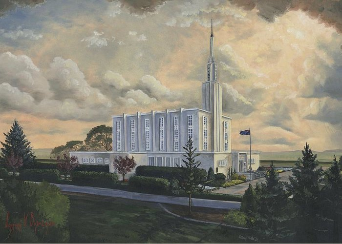 Lds Greeting Card featuring the painting Hamilton New Zealand Temple by Jeff Brimley