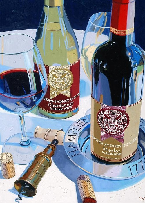 Wine Greeting Card featuring the painting Hampden Sydney Red And White Number One by Christopher Mize