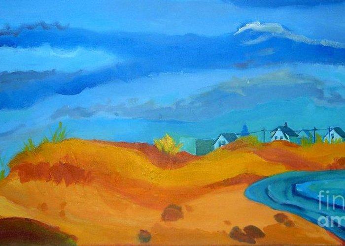 Ocean Greeting Card featuring the painting Hampton Dunes by Debra Bretton Robinson