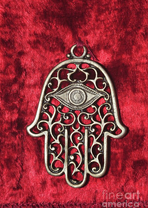 Ornament Greeting Card featuring the photograph Hamsa by Shay Levy