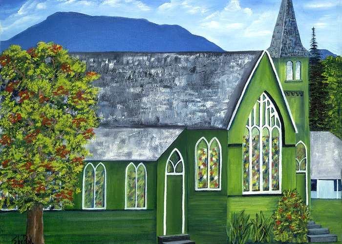 Landscape Greeting Card featuring the painting Hanalei Church by SheRok Williams