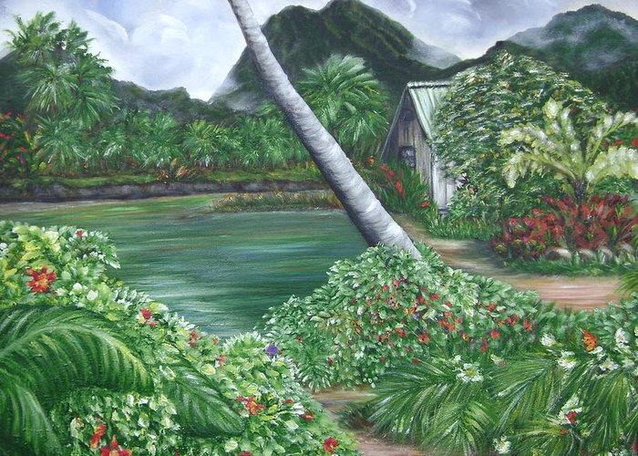 Tropical Gardenscape Greeting Card featuring the painting Hanalei Kanaka House by Laura Johnson