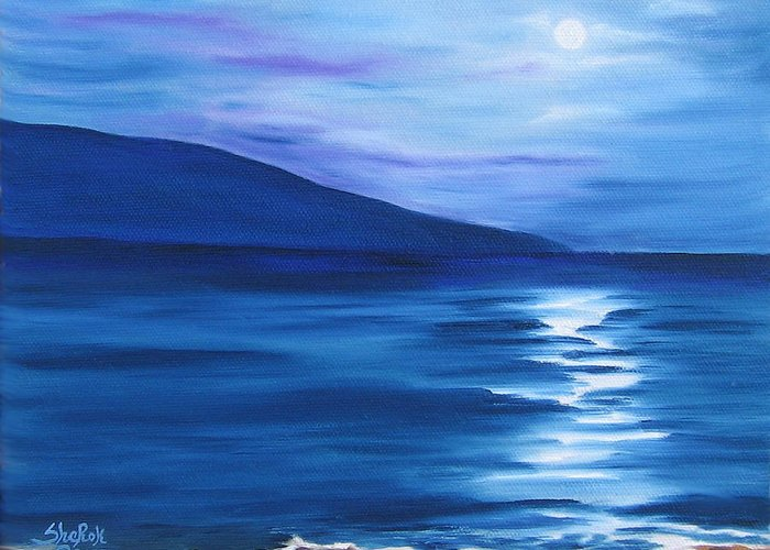 Landscape Greeting Card featuring the painting Hanalei Moon by SheRok Williams