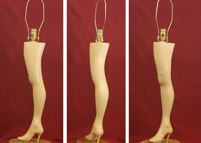 Wood Carving Greeting Card featuring the sculpture Hand Carved Wood Leg Lamp by Mike Burton