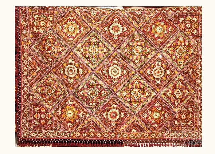 Mirror Work Bed Cover Greeting Card featuring the tapestry - textile Hand Fine Mirror Work by Dinesh Rathi