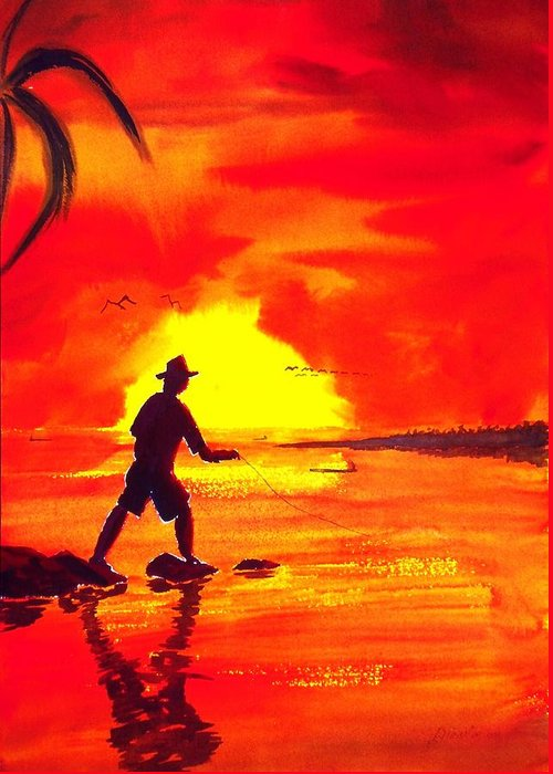 Seascape Greeting Card featuring the painting Hand Line Fisherman by Buster Dight