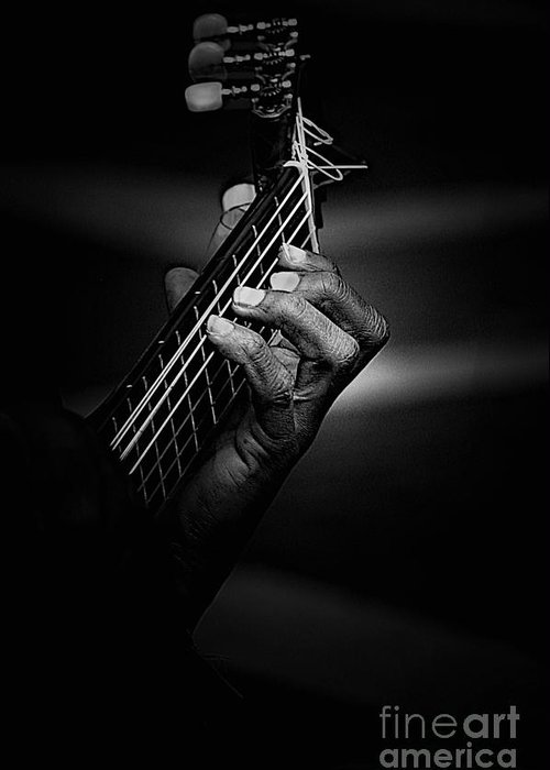 Guitar Greeting Card featuring the photograph Hand Of A Guitarist In Monochrome by Sheila Smart Fine Art Photography