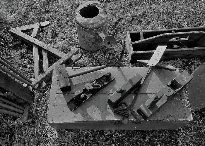 Farm Auction Greeting Card featuring the photograph Hand Tool Box Bw by Mark Victors