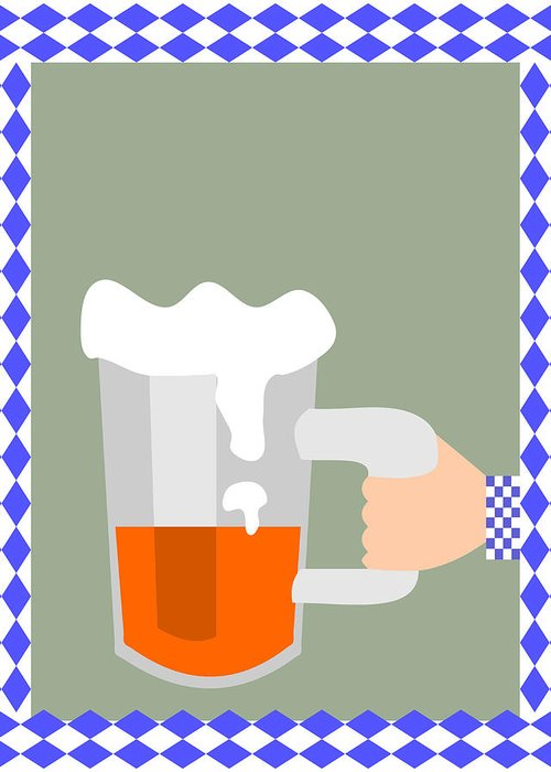Abstract Greeting Card featuring the digital art Hand With Beer by Lenka Rottova