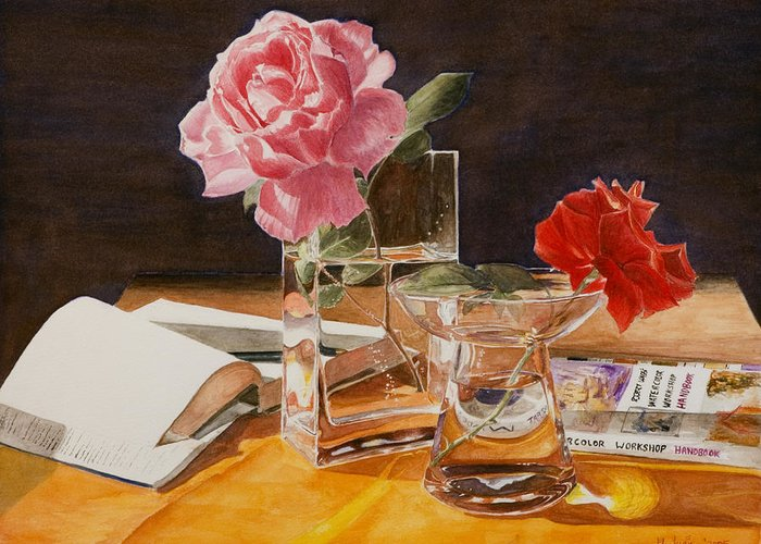 Rose Greeting Card featuring the painting Handbuch by Nik Helbig